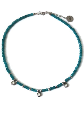 Jade choker necklace - deep blue