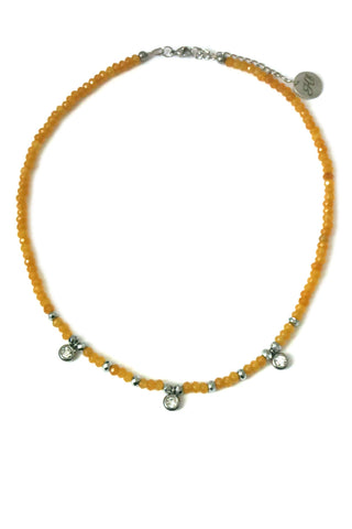 Jade choker necklace - golden yellow
