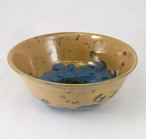 Tan Bowl with Light Blue on Bottom