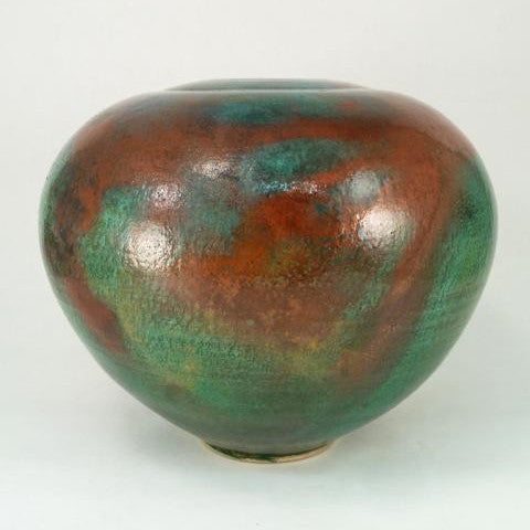 Large Raku Vase with Small Mouth in Turquoise