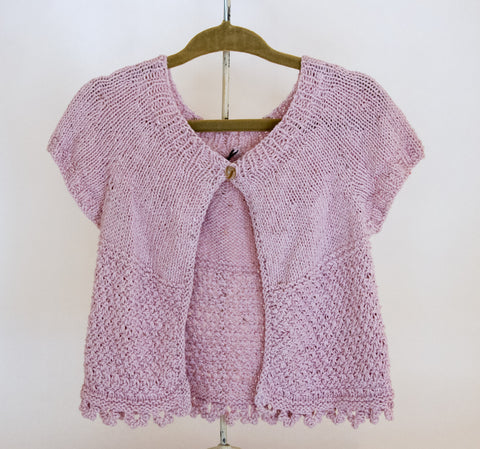 Knot Stitch Baby Cardigan in Pink