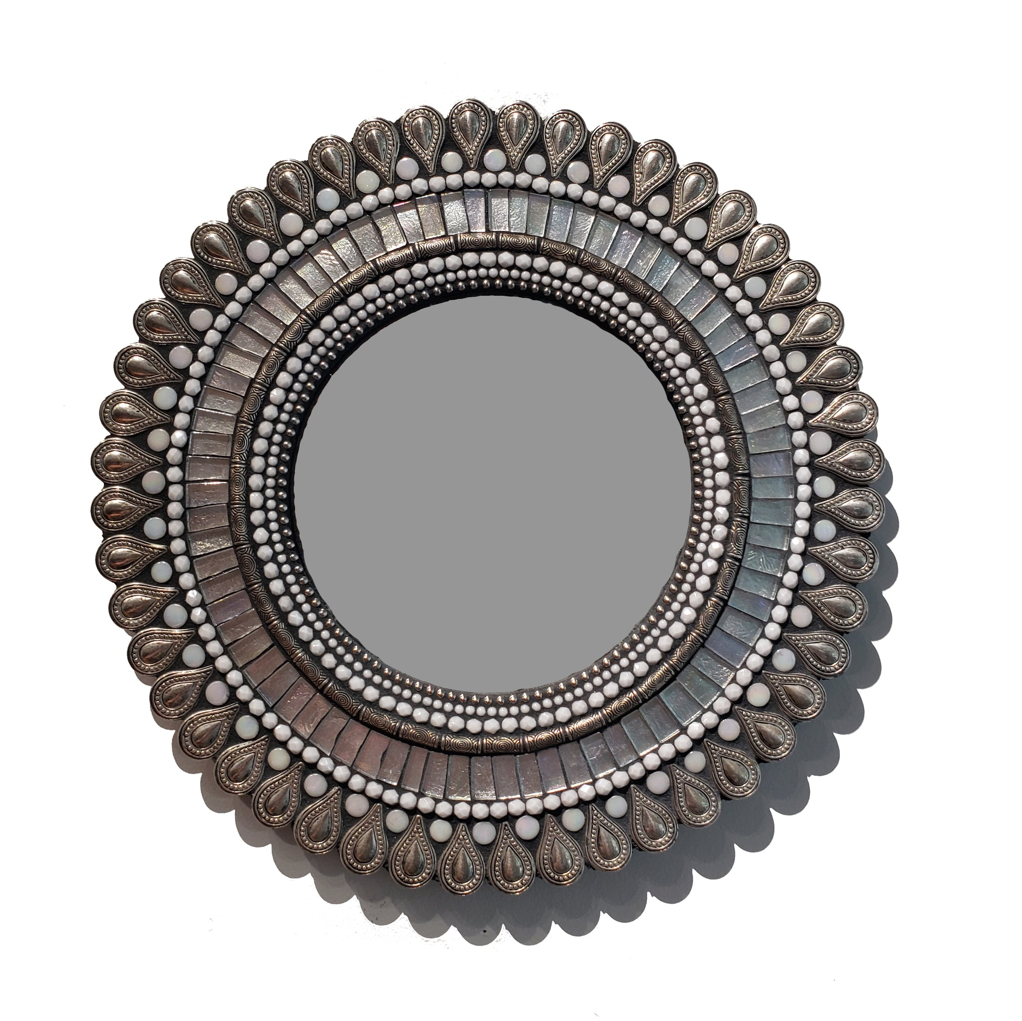 """Frost Drop"" Medium Mosaic Circle Mirror"