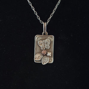 Sterling Butterfly Dog Tag with Brass Flower Necklace