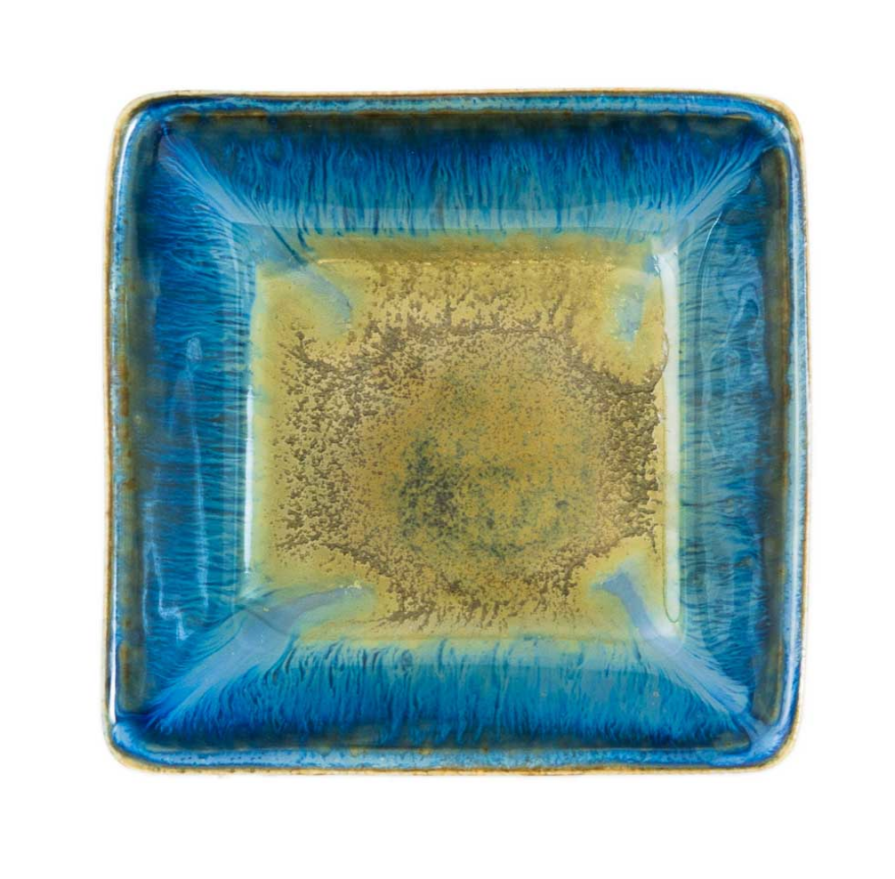 Small Square Plate (Amber Blue)
