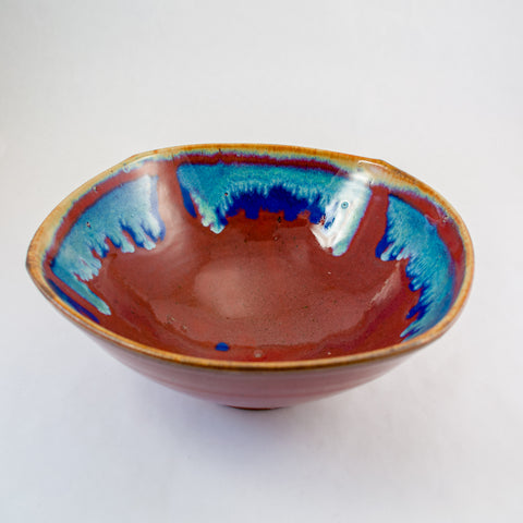 Large Off Centered Square Bowl in Red with Blue Accents