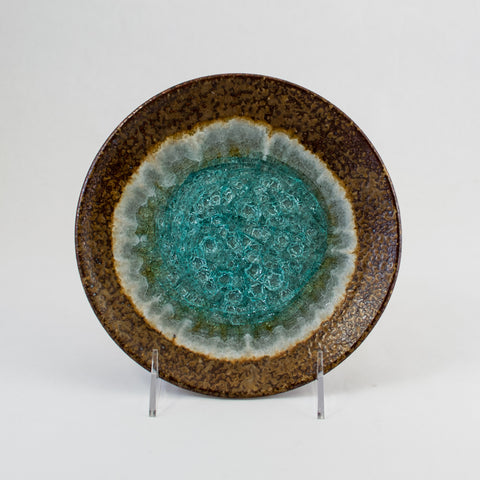 Small Copper Colored Plate with Turquoise Glass