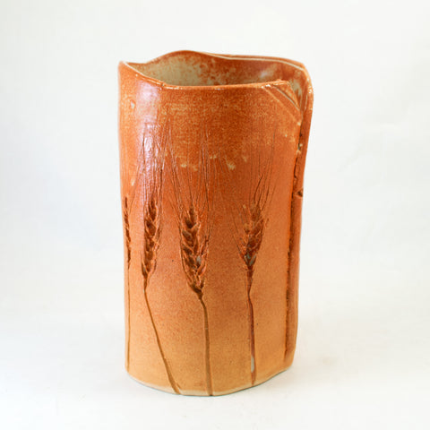 Small Brown Vase with Wheat Details