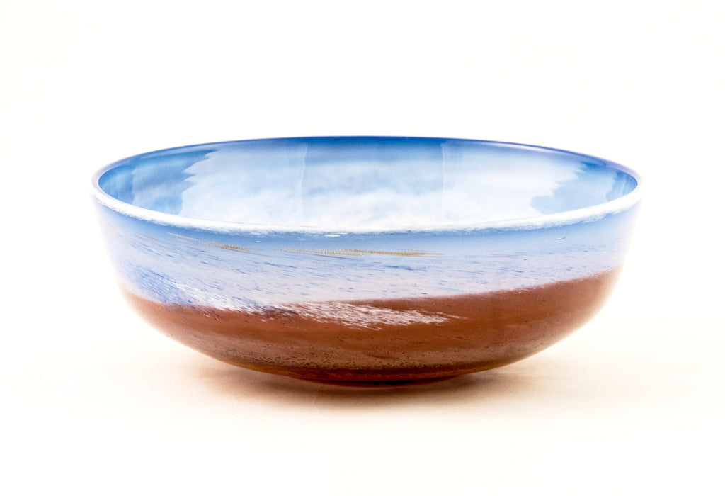 Medium Bowl in Peach and Blue in the Landscape Series