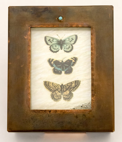 Three Butterflies Copper Reliquary Box