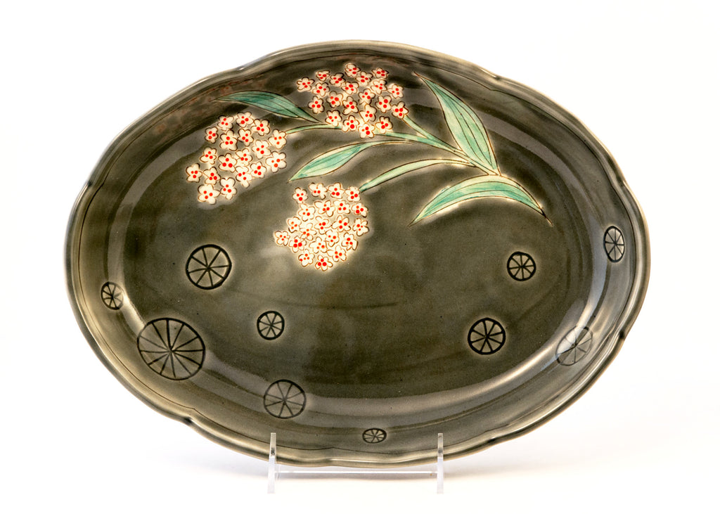 Gray Serving Plate with White Flowers