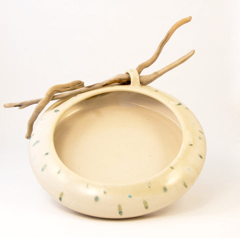 White Speckled Driftwood Bowl
