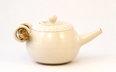 White Carved Driftwood Teapot