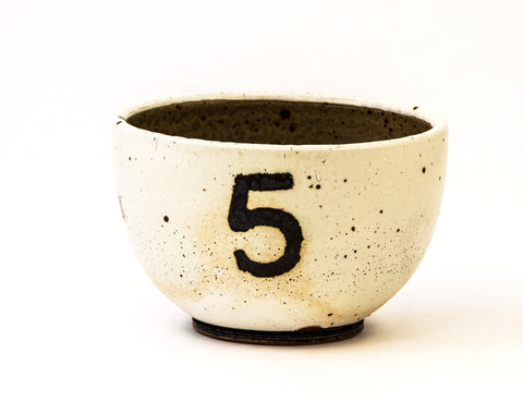 White Bowl with Number 5