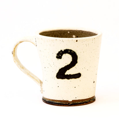 White Stoneware Mug with Number 2