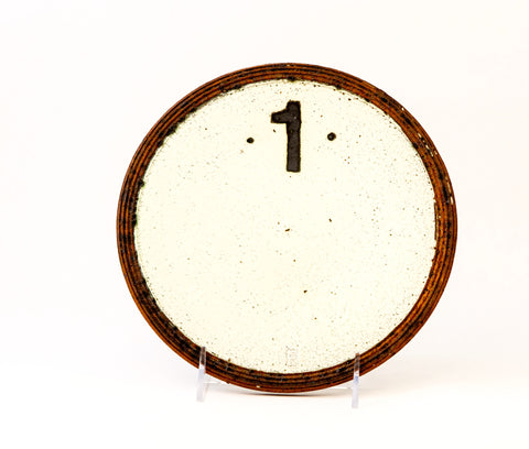 White Stoneware Plate with Number 1