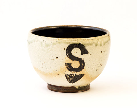 "Small Brown and White Bowl with ""S"""