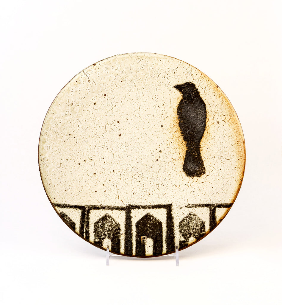 Small Bird with Houses Platter