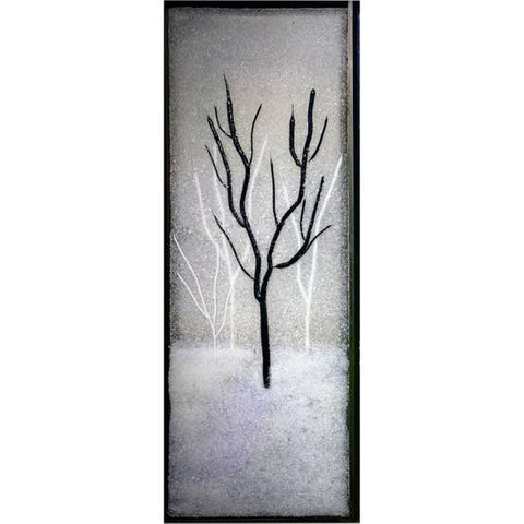 Lone Winter Tree Glass Frit Painting