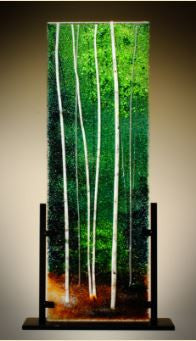 Forest Green Glass Frit Painting