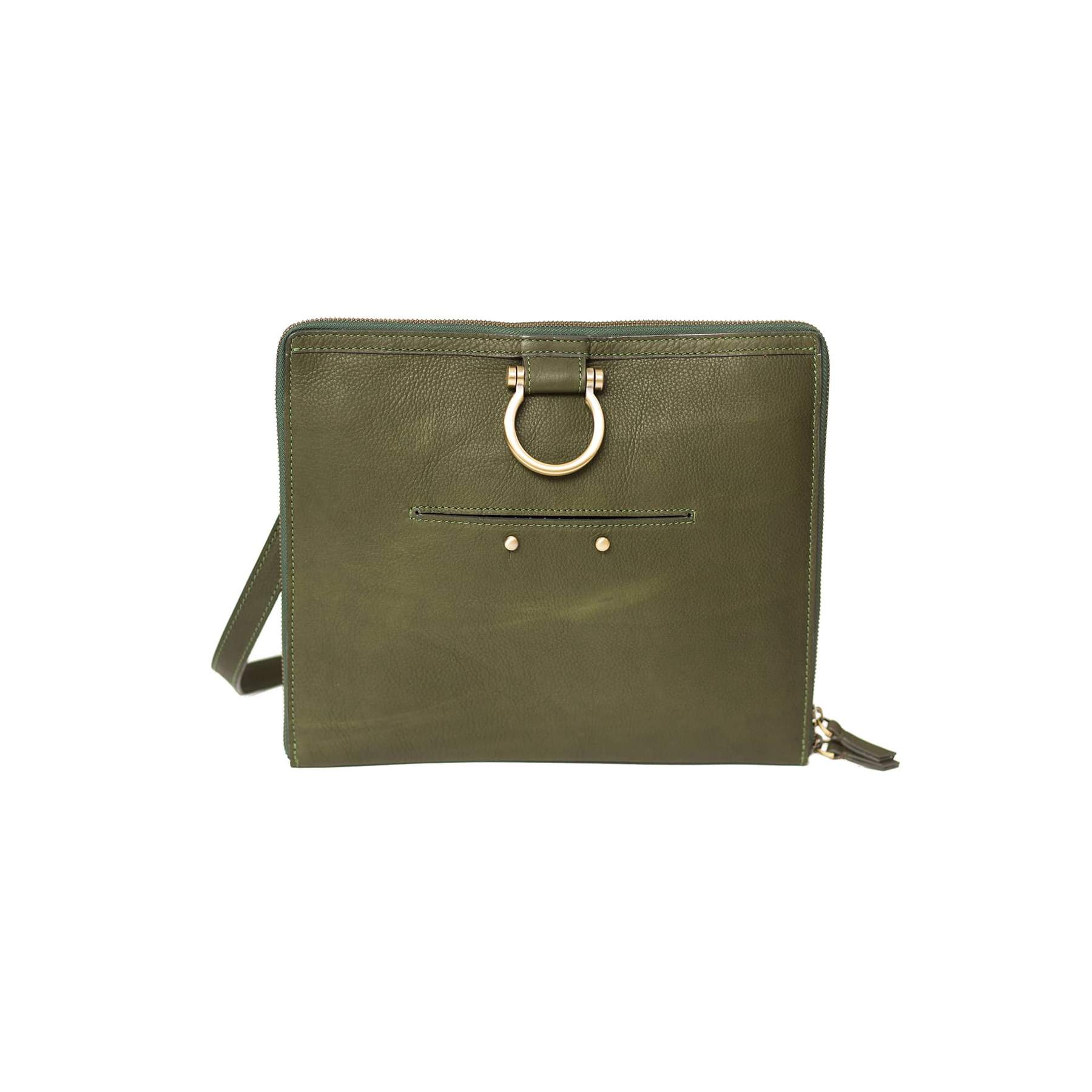 M Leather Crossbody Handbag (Olive Raw Leather)