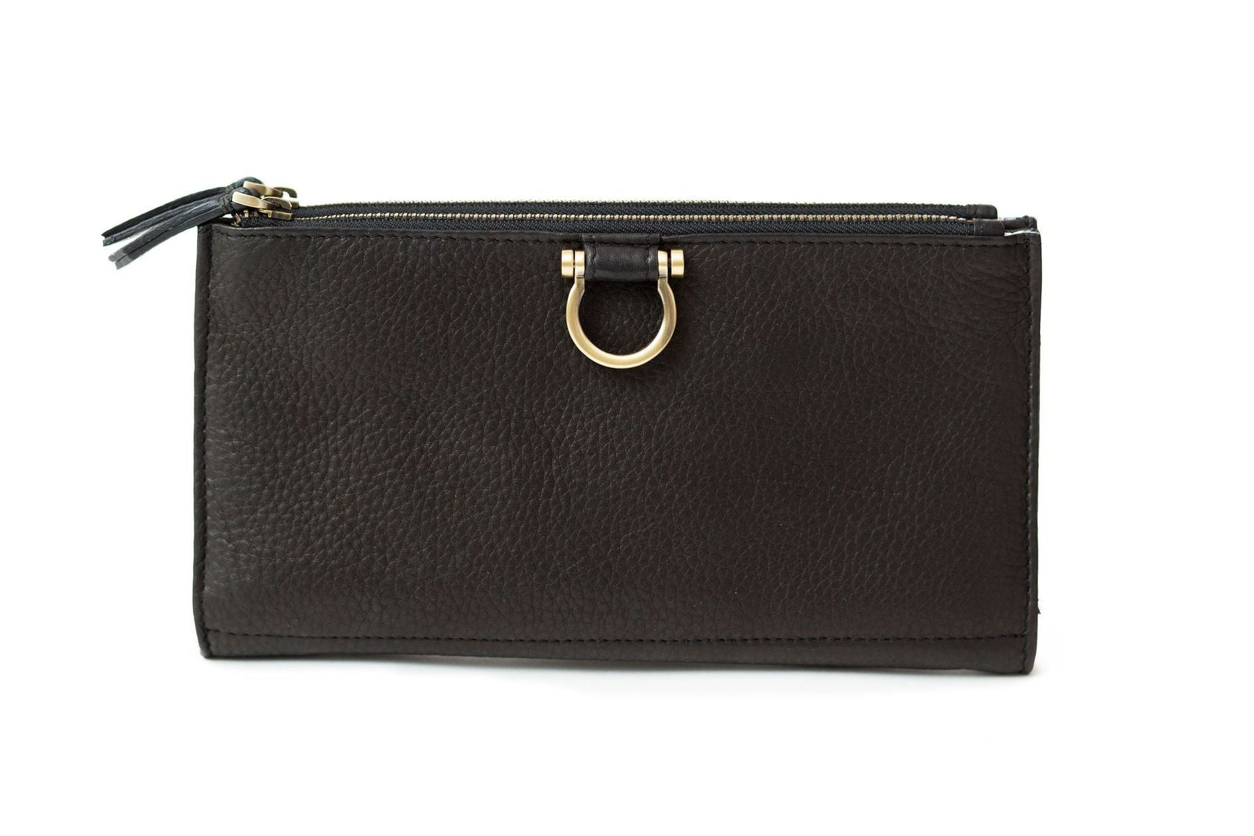 Parker Leather Wristlet Wallet (Black Raw Leather)