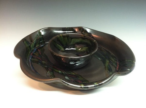Scalloped Chip & Dip Tray in Black Galaxy
