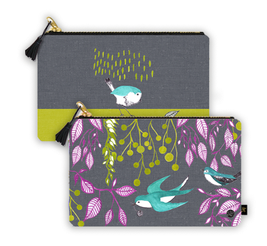 Bird Dance Clutch Bag from Original Watercolor, Organic Cotton
