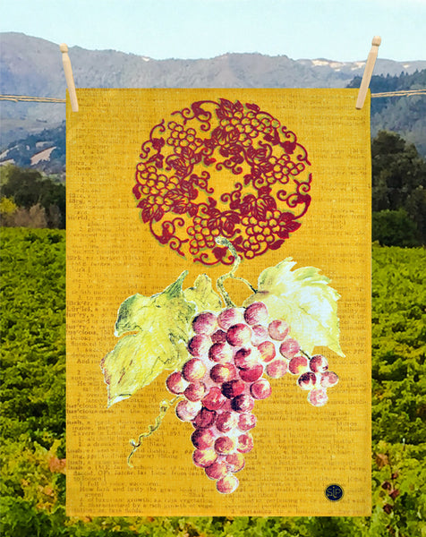 """Wine Series Yellow"" Kitchen Towel"