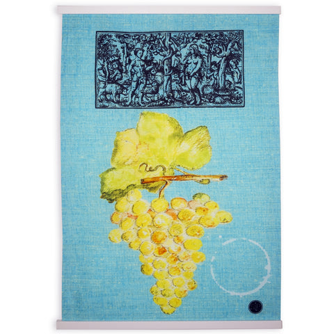 White Grapes Dish Towel from Original Watercolor, Eco-friendly Cotton