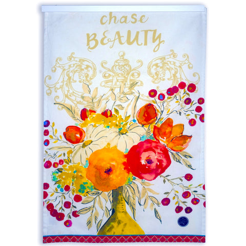 Floral Kitchen Towel from Original Watercolor, Organic Cotton