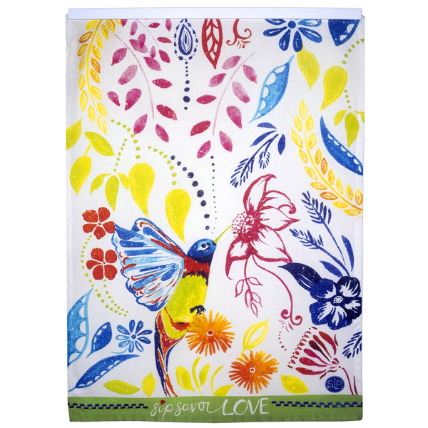 Hummingbird Kitchen Towel from Original Watercolor, Organic Cotton