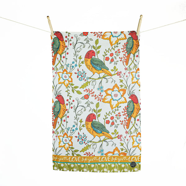 Colorful Bird Kitchen Towel from Original Watercolor, Organic Cotton