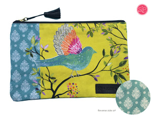 Bird Clutch Bag from Original Watercolor, Organic Cotton