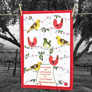 Holiday Bird Song Kitchen Towel from Original Watercolor, Organic Cotton