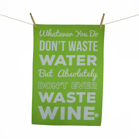 """Wine Text Green"" Kitchen Towel"
