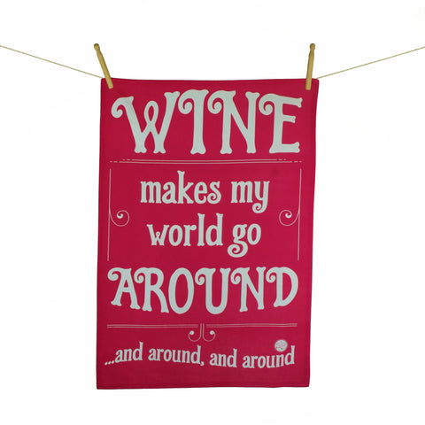 """Wine Text Red"" Kitchen Towel"