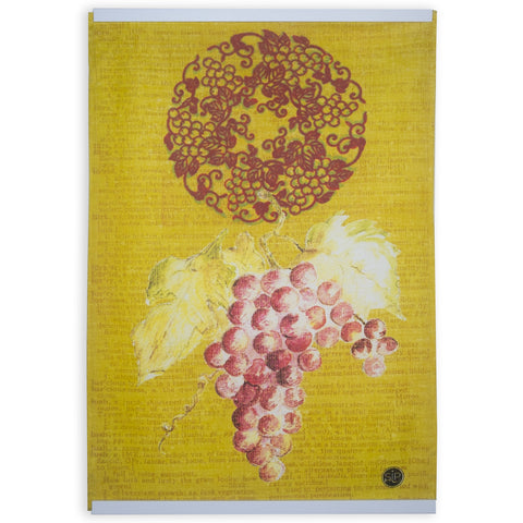 Red Grapes Kitchen Towel from Original Watercolor, Eco-friendly Cotton