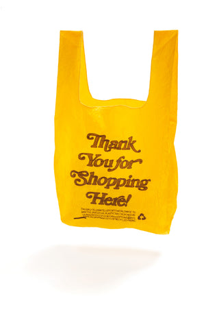 YELLOW THANK YOU FOR SHOPPING HERE TOTE