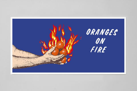 Oranges on Fire Screenprint, Mike Mandel / Larry Sultan
