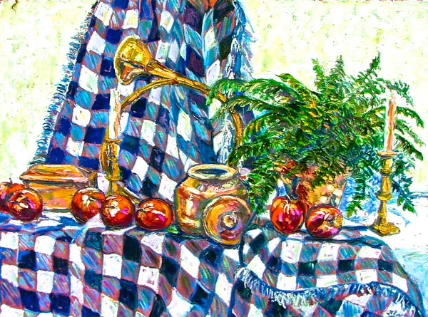 Apples and Blue Checked Cloth - 30 x 40   1100.00