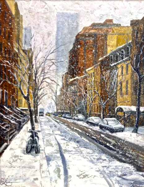 Blizzard in the Village - 28 x 22  SOLD