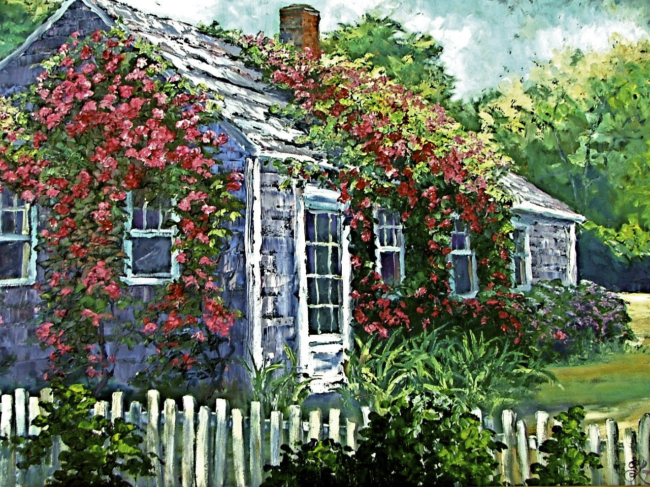 "Rose Covered Cottage  30x40""  SOLD"