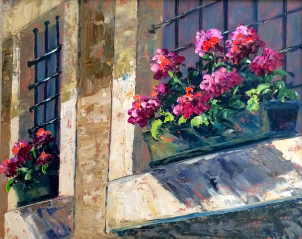 Geraniums in the Window - 16 x 20  500.00