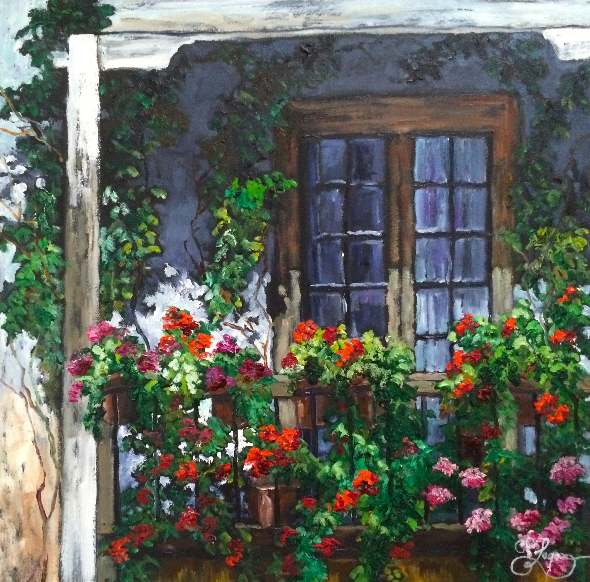 "Geraniums on the Balcony  20x20""  350.00"