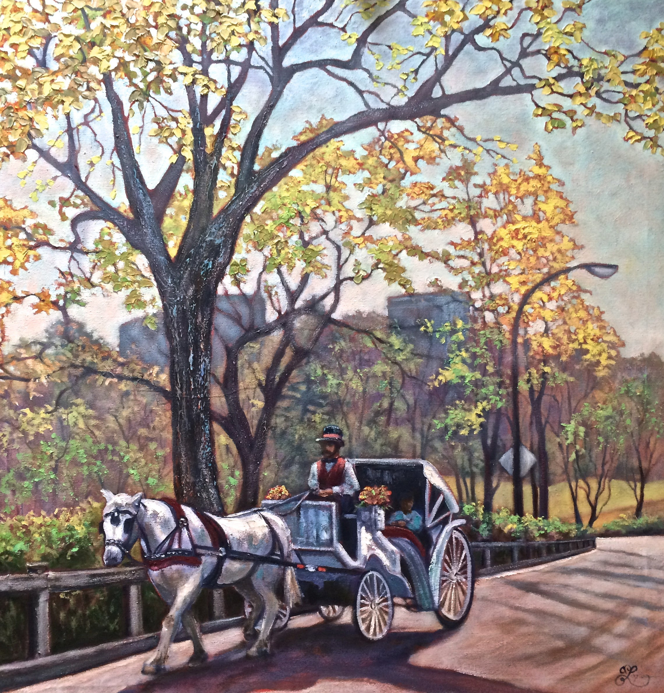 "Riding in Central Park  48x48""  1600."