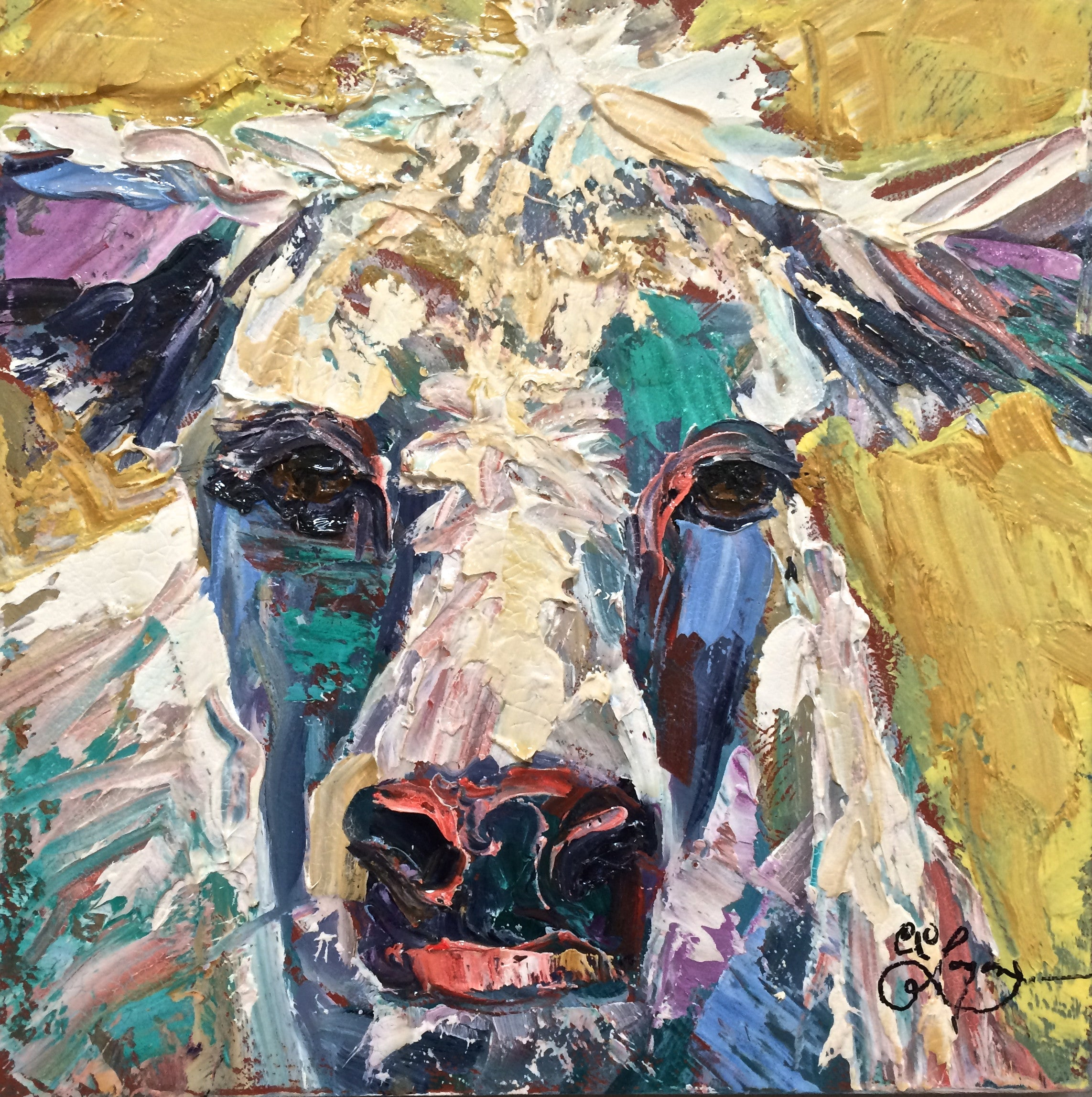 "Cow Face I  12x12"" 200."