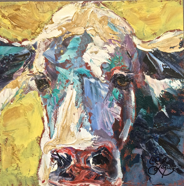"Cow Face III  12x12"" 200.00"