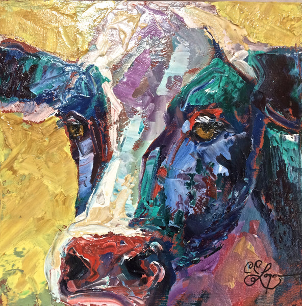 "Cow Face II 12x12"" 200.SOLD"
