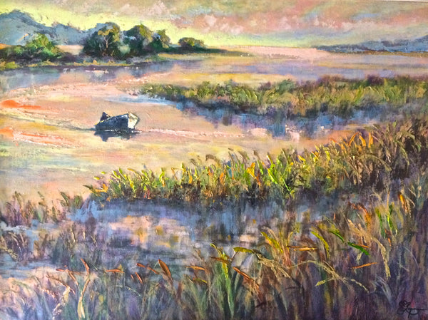 "Alone in the Marshes  30x40""  1100."