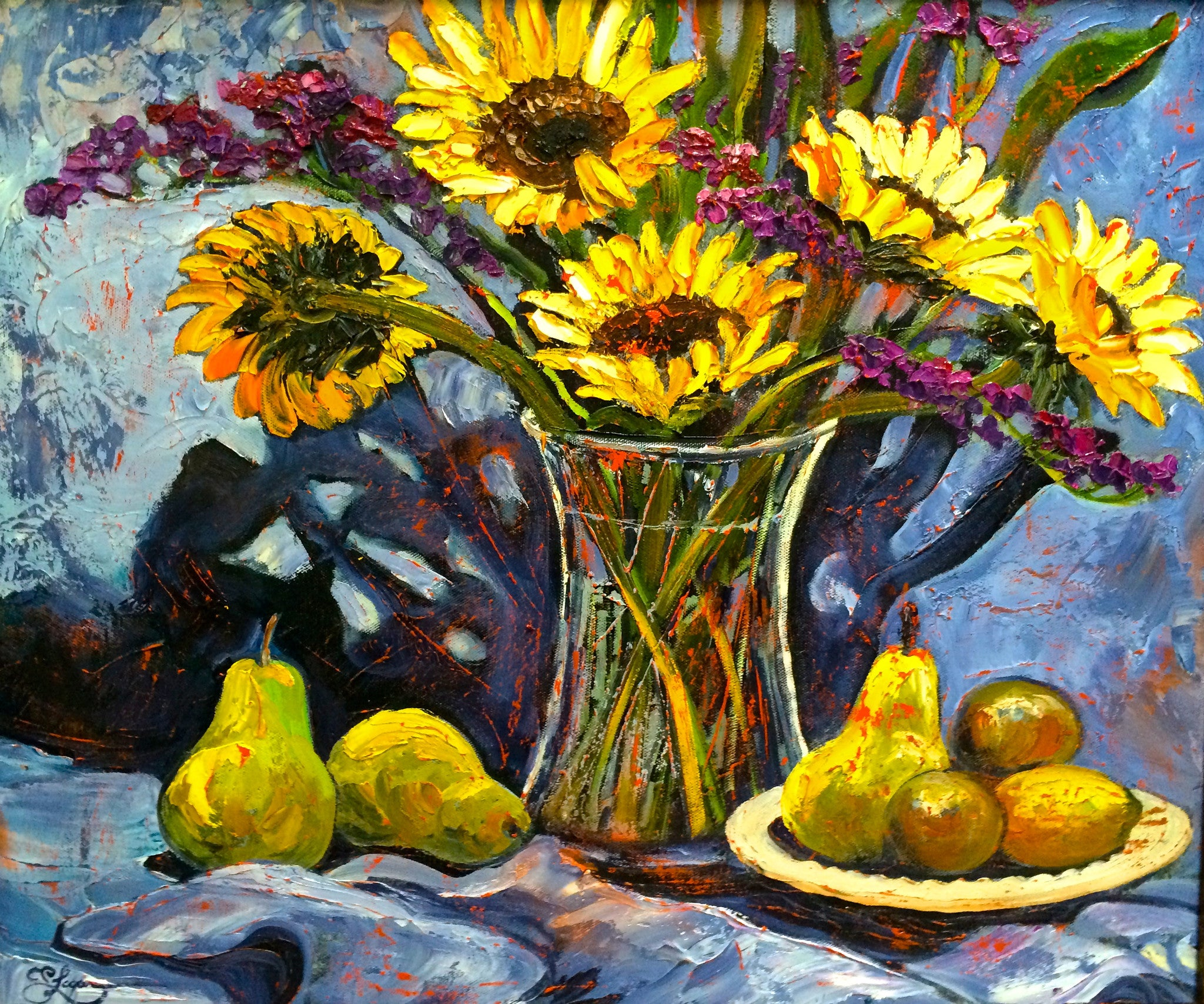 Sunflowers and Pears - 20 x 24   750.
